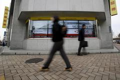Asian shares gain on economy hopes, oil edges up on Mideast tensions